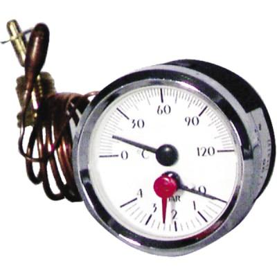 Runder Druckmesser 0 bis 120°C - 0 bis 6 bar Durchmesser 58mm Lg. 1500 - DIFF