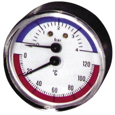 Runder Druckmesser 0 bis 120°C - 0 bis 4 bar Durchmesser 63mm - DIFF