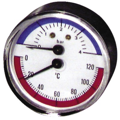 Thermomanomètre axial sec 0 à 120°C - 0 à 4b - DIFF