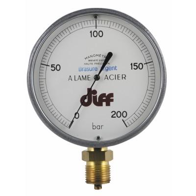 Manomètre rond 0 à 200b Ø110mm M1/2'' - DIFF