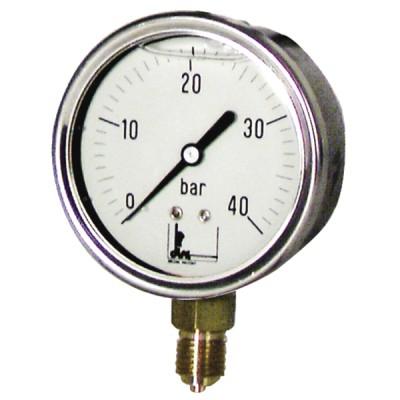 """Runder Druckmesser 0 bis 40 bar Durchmesser 63mm M1/4"""" rostfreier Glyzerin-Stahl ohne Schutz - DIFF"""