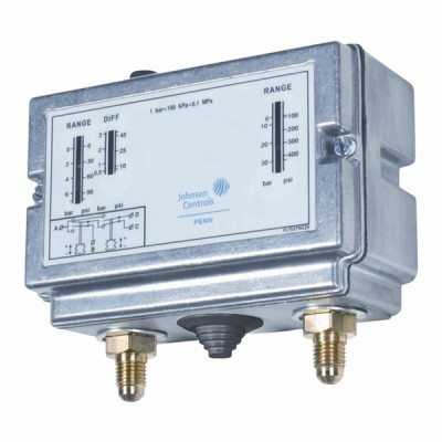 Dual pressure switch, high pressure 2-stage PED STY5 SPDT contact - JOHNSON CONTR.E : P78PLM-9350