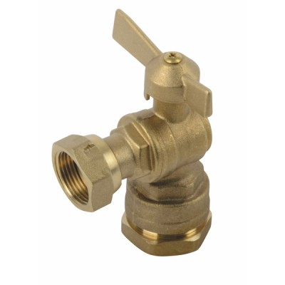 """Water meter isolation ball valve angled for PE tube 3/4"""" - DIFF"""