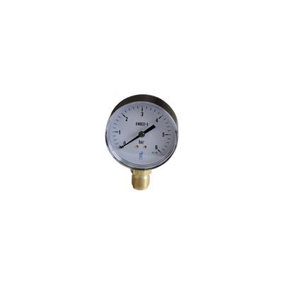 Water & air pressure gauge 0/6 bar ø80mm