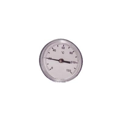 Termometro rotondo a immersione assiale 0-120°C Ø 63mm