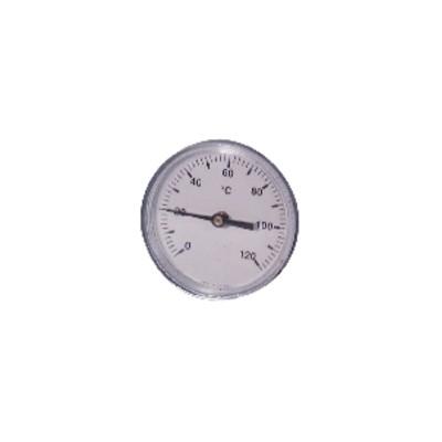 Thermomètre rond plonge axiale 0 à 120°C Ø80mm