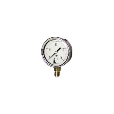 """Runder Druckmesser 0 bis 40 bar Durchmesser 63mm M1/4"""" rostfreier Glyzerin-Stahl ohne Schutz"""