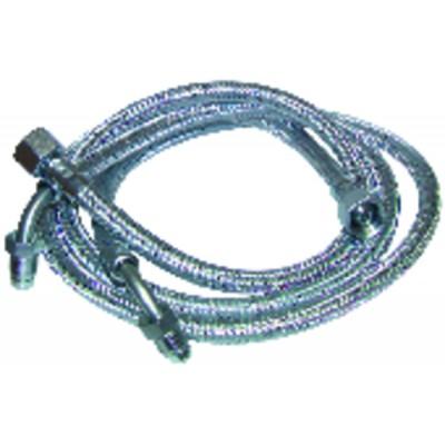 """Ölschlauch F3/8"""" x M1/4 mit Ring gebogen 90°  Länge 900mm  (X 2) - FRANCO BELGE: 183005"""