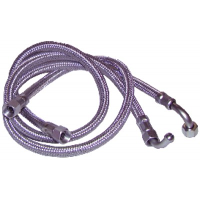 "Hose fuel f3/8"" x f1/4"" bent 90° length 750mm  (X 2)"