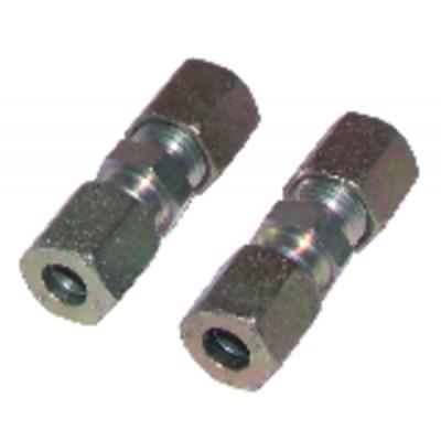 Racor de compresión recto tubo 8mm x tubo 8mm  (X 2)