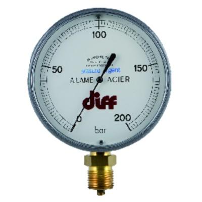 """Round manometer 0 to 200 bars ø 110mm m1/2"""""""