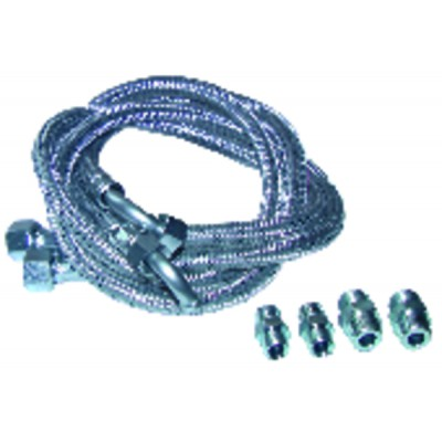 Hose fuel 2 x bent hose 1000mm with 4 fittings (X 2)