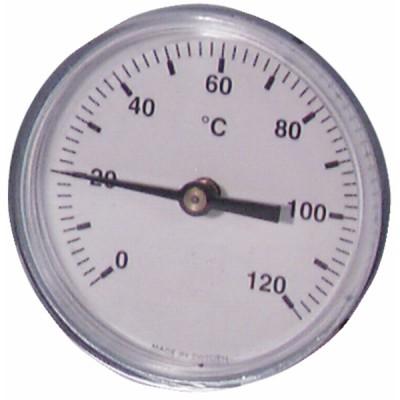 Termómetro redondo a inmersión axial 0-120°C Ø80mm