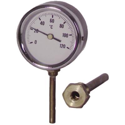 Thermomètre rond plonge radiale 0 à 120°C Ø80mm - DIFF
