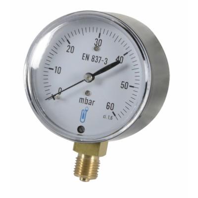 """Runder Druckmesser 0 bis 60 mbar Durchmesser 63mm M1/4"""" mit Anzeige  - DIFF"""