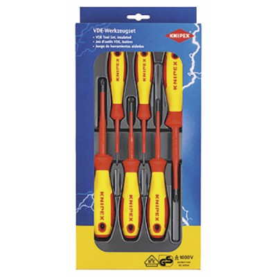 Jeu de 6 tournevis plat/PHILLIPS voltage 1000V - KNIPEX - WERK : 00 20 12 V01