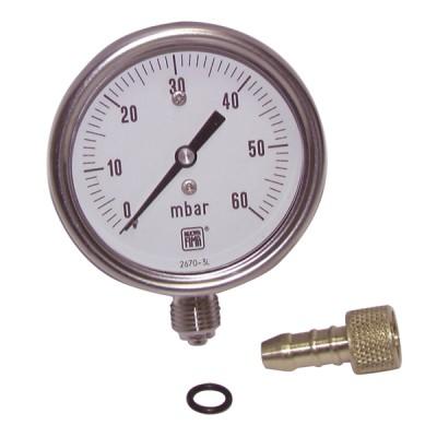 """Runder Druckmesser 0 bis 60 mbar Durchmesser 63mm M1/4"""" ohne Hülle - DIFF"""