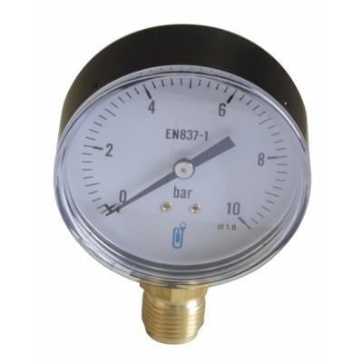 Water & air pressure gauge 0/10 bar ø80mm - DIFF