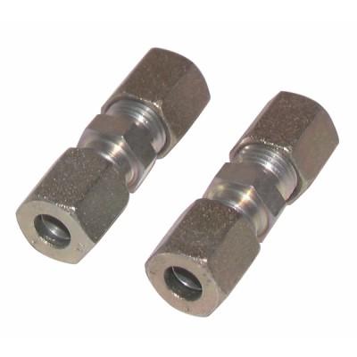Racor de compresión recto tubo 6mm x tubo 6mm  (X 2) - DIFF