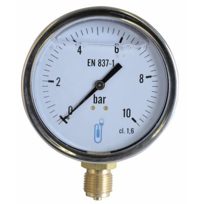 Manomètre radial glycérine 0-10b Ø100mm - DIFF