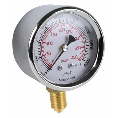 """Runder Druckmesser 0 bis 400 mbar Durchmesser 63mm M1/4"""" - DIFF"""