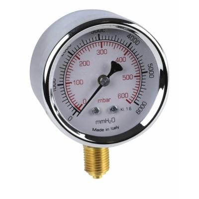 """Runder Druckmesser 0 bis 600 mbar Durchmesser 63mm M1/4"""" - DIFF"""
