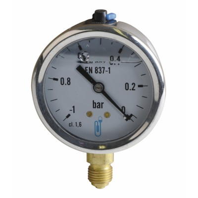 """Runder Vakuummesser -1 bis 0 bar Durchmesser 63mm M1/4"""" Gehäuse aus rostfreiem Stahl mit Glyzerin ohne Schutz - DIFF"""