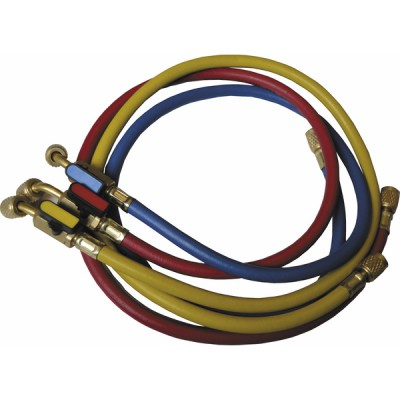 """Set of 3 hoses flare connection FF 1/4"""" with valve - GALAXAIR : SA-CT360-RYB"""