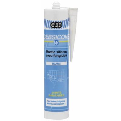 Mastic silicone sanitaire blanc (X 12) - GEB : 893150